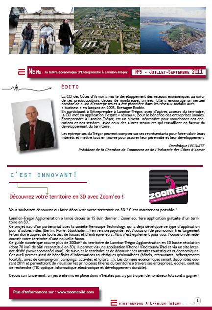 A lire : E News n°5, la lettre économique d'Entreprendre à Lannion Trégor