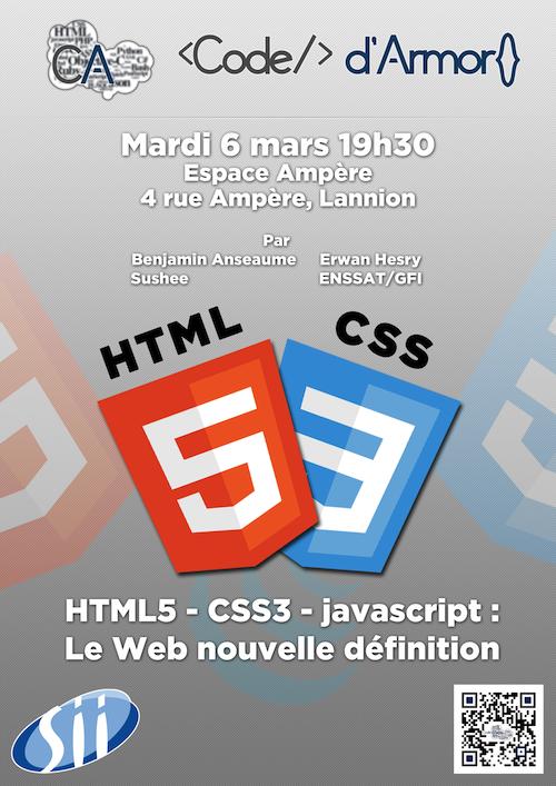 Soirée Code d'armor - HTML5, CSS3, Javascript : le Web nouvelle définition
